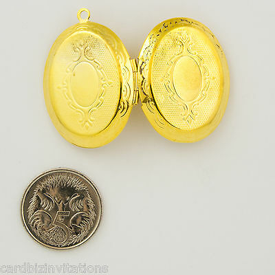 Oval Locket Gold Plastic 23mm 1 Piece Engraved Design Holds 2 Photos New