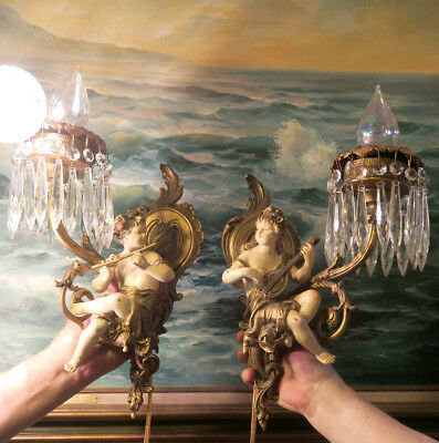 PAIR Shabby Musicians Spelter Brass sconces French lamp Vintage Antique prisms