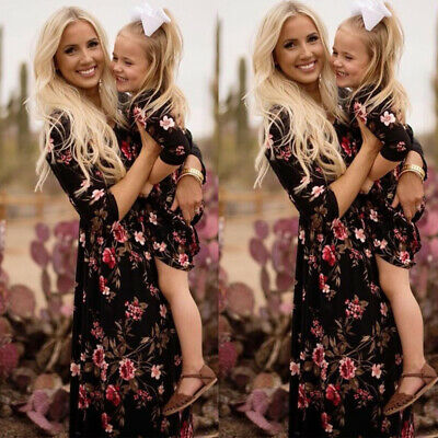 UK Family Dress Mother And Daughter Floral Print Maxi Dress Mommy& Girl Outfits