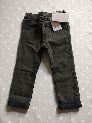 Next Baby Jeans Boys Pigment Died Khaki Green 9-12 12-18 Months New