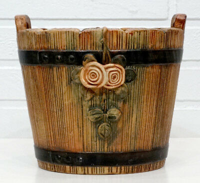"Vintage WELLER POTTERY Pre-1920 WOODROSE Arts Crafts HUGE 8"" JARDINIERE Planter"