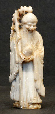 ANTIQUE Vintage CARVED SOAPSTONE Immortal DEITY STATUE & PEACH Art Figurine