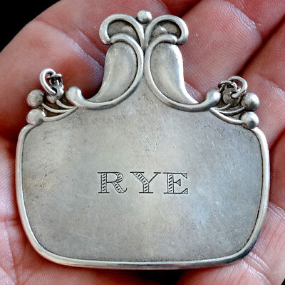 STERLING SILVER Antique RYE Liquor Decanter BOTTLE TICKET Hanging Tag Label