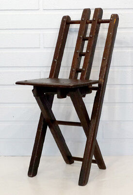 ANTIQUE Arts & Crafts MISSION Wood FOLK ART Child Doll FOLDING TRAVEL CHAIR