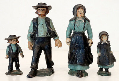 ANTIQUE Vintage HUBLEY Cast-Iron 4-pc AMISH FAMILY Paperweight Figurine