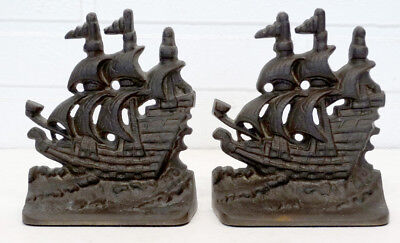 1920's Vintage ANTIQUE Cast Brass Bronze PIRATE GALLEON SAILING SHIP Bookends