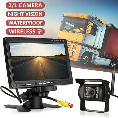 """Wireless 7"""" LCD Monitor + Vehicle Backup IR Rear View Camera for Truck RV"""