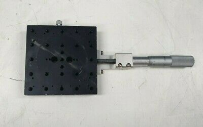MELLES GRIOT 120mm x 120mm LINEAR STAGE W/ MITUTOYO 0.01mm 0-50mm  (IN29S1B2)