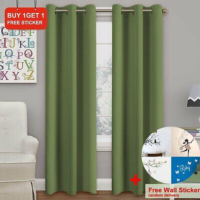 Long Drop Fully Lined Pair Curtains Eyelet Ring  Top Ready Made  Olive Green