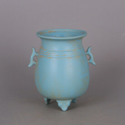 "5"" Chinese old Porcelain Song Ru kiln blue glaze double ear Three foot jar pot"