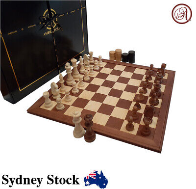 AMBRIZZOLA 40cm Wooden Chess Gift Set (solid-wood board with handcrafted pieces)