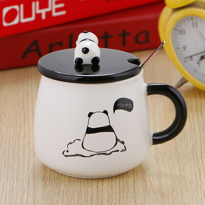 1PC Nontoxic Panda Ceramic Mug Lid with Spoon for School Home Students Baby Kids