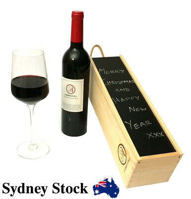 AMBRIZZOLA Wooden Wine Gift Box (wood wool and chalk are included)