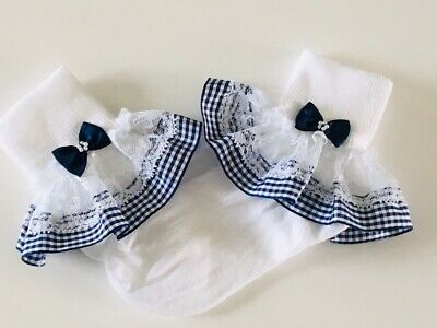 Handmade navy blue gingham frilly lace baby/girls school summer socks