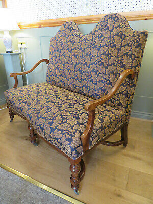 C.1840 Hump Back Sofa Restored New Upholstery William & Mary Manner