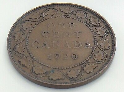 1920 Canada One 1 Cent Large Copper Penny Circulated Canadian George V Coin J617