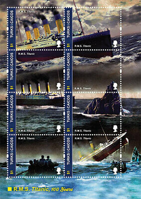 Turks And Caicos - 2012 - TITANIC 100TH ANNIVERSARY Sheet of 8 Stamps - MNH