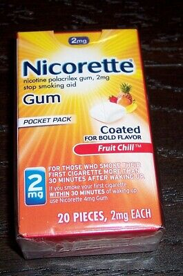 Nicorette Nicotine Gum 2mg Fruit Chill 20 Pieces 04/2019 AS IS W2