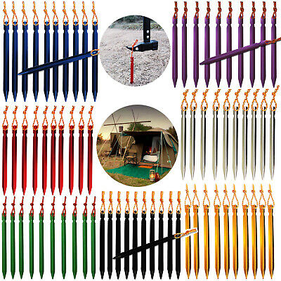 1x 5x Outdoor Camping Tent Pegs Stakes with Rope Durable Aluminum Nails 18cm SS