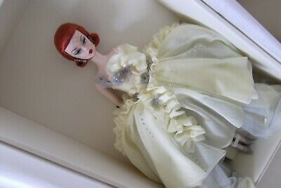Silkstone Gold Label BFMC Beautiful Gala Gown Red Head Barbie Doll & Earrings