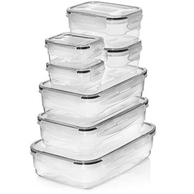 Premium Airtight Storage Containers, 7 Piece Easy Lock Lid, Microwave Freezer or