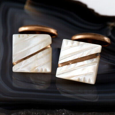Antique Carved Mother Of Pearl Gold Filled Edwardian Cufflinks Vtg Mens Jewelry
