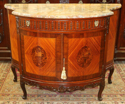 Best French Satinwood Marble Top Commode Dresser Buffet Server Sideboard MINT