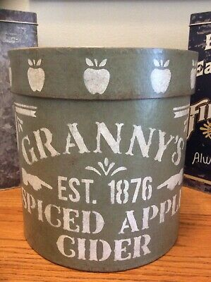 Primitive-Style Country Apple Cider Paper Mache Kitchen Pantry Storage Canister