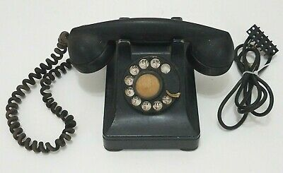 Bell System Western Electric Vintage Rotary Dial Bakelite Telephone Black Desk