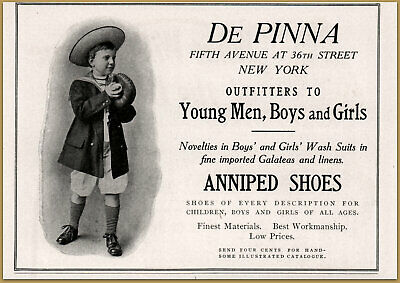 Bright 1909 De Pinna Outfitters Young Men Boys Girls Anniped Shoes Photo Fashion Ad Merchandise & Memorabilia