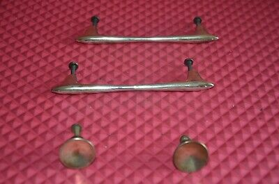 Mid century set of 4 brass handles numbered 19188 cleaned and polished.