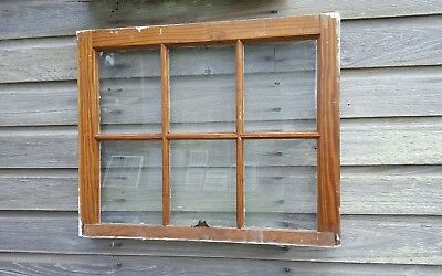 VINTAGE SASH ANTIQUE WOOD WINDOW PICTURE FRAME PINTEREST RUSTIC 29x23 6 PANE