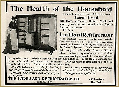 Hot Sale 1900 C Lorillard Refrigerator Photo Interior Housewife Opal Glass Liner Ad Catalogues Will Be Sent Upon Request Advertising