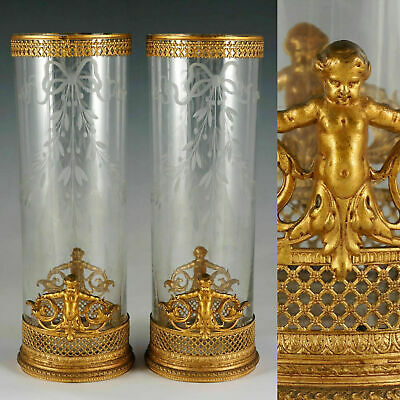 Pair Antique French Gilt Bronze Empire Glass Vases Ornate Ormolu Putti Figures