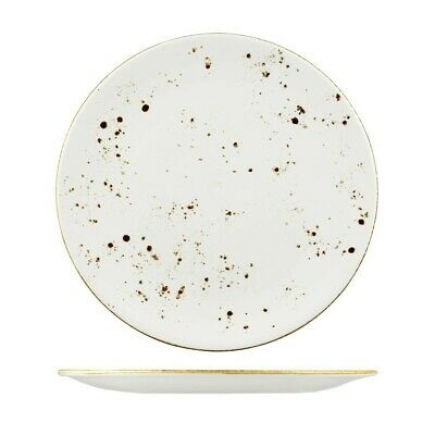 24x Round Coupe Plate 325mm Rustic White Longfine Wellington Crockery Commercial