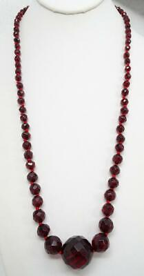 """Vtg Art Deco Faceted Cherry Amber Bakelite Knotted & Graduated Bead 27"""" Necklace"""