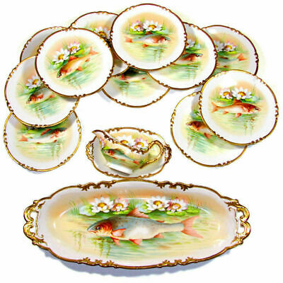 Antique French Limoges Porcelain Gold Hand Painted Fish Set Plates Service Tray