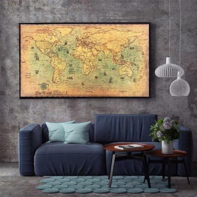 Ocean Sea World Map Nautical Retro Old Art Paper Painting Home Decor Wall Poster
