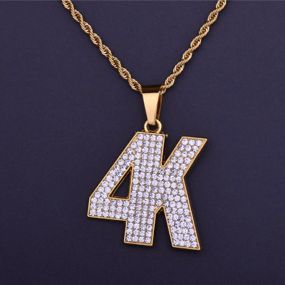 New Bling Iced Full Rhinestone 4K Letters Hip Hop Pendant Rapper Necklace Charm
