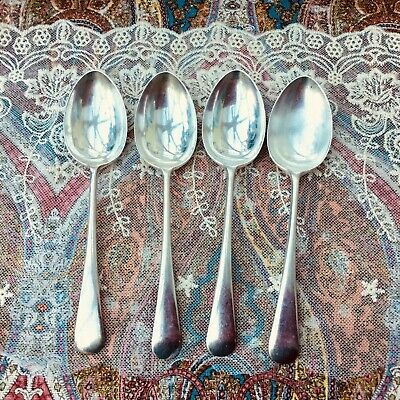 FRANK COBB DESSERT SPOON SET x4 - ANTIQUE SILVER PLATE c1910 EPNS A1 SHEFFIELD