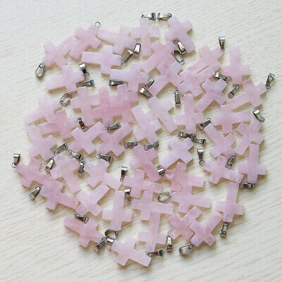 50pcs Fashion natural rose quartz stone cross beads pendants for Jewelry making