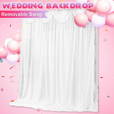 6M X 3M White Stage Wedding Party Backdrop Photography Background Curtain Drapes