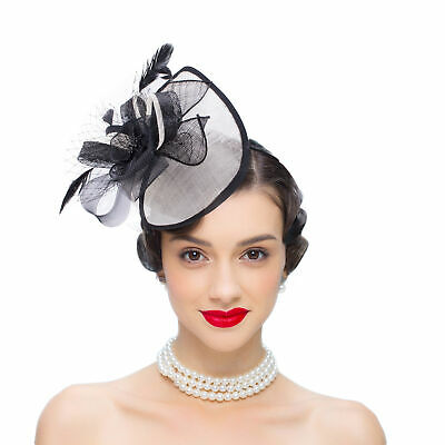 Womens Sinamay Fascinator Headpiece Royal Ascot Derby Wedding Feather Hat T348