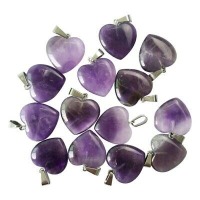 Wholesale 50pcs/lot charms natural amethyst stone Heart-shaped Beads Pendants