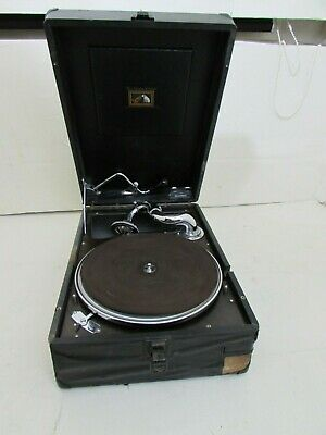Early Vintage Rare Model His Master's Voice Portable Wind Up Gramophone