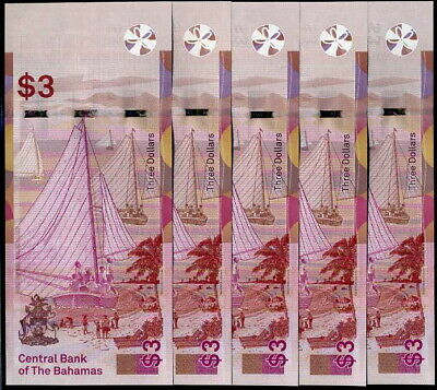 Bahamas 3 Dollars 2019 P New Design Qe Ii Unc Lot 10 Pcs