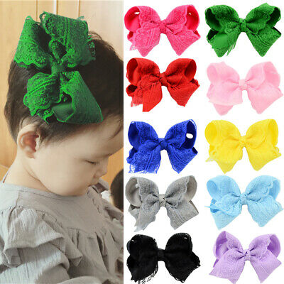 Ribbon Lace Bows Hair Clip Baby Infant Girls Kids Gifts Elegant Flower Bow-knot
