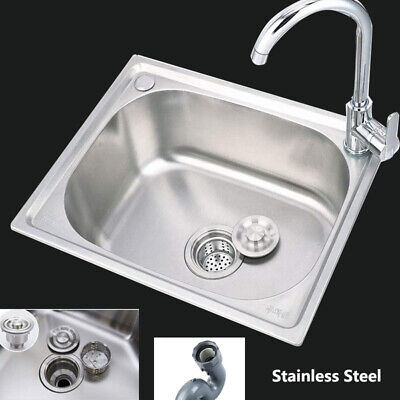 500x400mm Stainless Steel Single Sink Kitchen Handmade Bowl Laundry