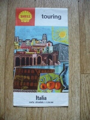 Shell Italy Folding Touring Map 1964 (Italia Carta Stradale) VGC