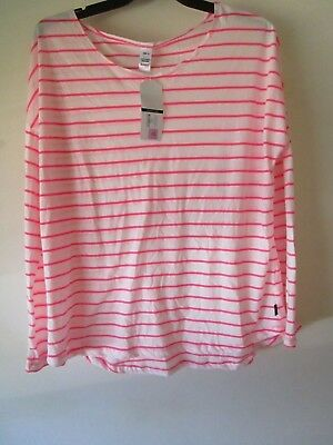 Ladies long sleeve Bonds pink and white stripe sleep tee top  Size 12